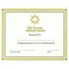 Ambassador Community Service Bar Certificate  Ambassador Girl