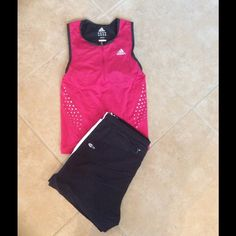 Adidas clima 365 control top This is made of sweat absorbing material built in bra worn once perfect condition. Hot pink and black trip with reflective spots. Adidas Tops Tank Tops