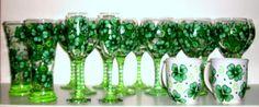 Irish wedding, Shamrock, 4 Leaf Clover,  Hand Painted 18 Piece Set ,2 Champagne Flutes,12 /20 oz.Wine Goblets,2 /19 oz.Beer Glasses 2 Cups on Etsy, $280.00