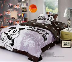 mickey mouse brand bedding sets queen size 4pcs Blue comforter ...