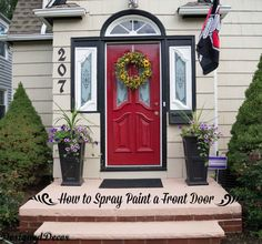 to spray paint the front door great tutorial on how to spray paint a. Black Bedroom Furniture Sets. Home Design Ideas
