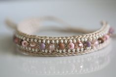 Crochet beaded friendship bracelet Desert Rose by LupineJewelry, $15.50