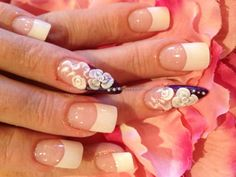 White tips with stiletto nail and 3D acrylic nail art