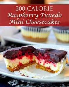 200 CALORIE Raspberry Tuxedo Mini Cheesecakes - all the cheesecake indulgence you're craving in a perfectly portion controlled mini size at only 200 calories!