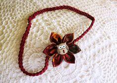Fall flower headband with owl / braided headband / by ImwtheBand, €7.59