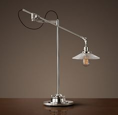 20th C. Factory Filament Ribbed Glass Task Lamp