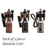 Ezyoutdoor 3 Pieces High-grade Kerosene Bottles Lighters Wheel Wizard Style Cigarette Jet Torch Random Color