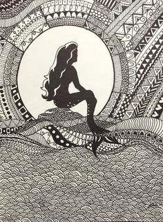 The Little Mermaid done free-hand with Sharpie on 9in by 12in coldpress 140 lb. paper.
