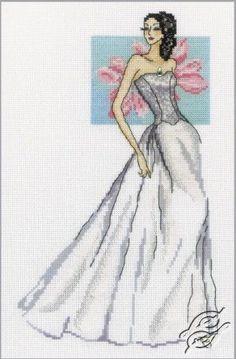 0 point de croix femme robe longue blanche - cross stitch long white dress lady