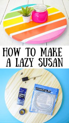 How to Build a Lazy Susan. DIY Home Decor with Rainbow Colors. Rainbow accents around the house. DIY Home Decor with this lazy susan Diy Home Crafts, Easy Diy Crafts, Diy Crafts For Kids, Fun Crafts, Diy Home Decor, Craft Ideas, Creative Crafts, Wood Crafts, Diy Projects To Sell