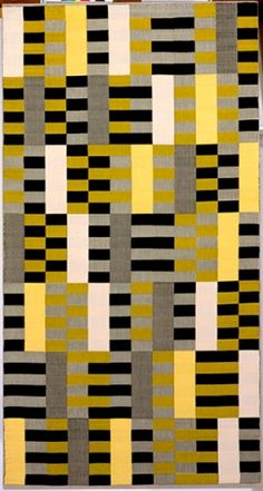 "Anni Albers's ""Wall Hanging (black, white, yellow), Bauhaus weaving workshop number we 493/445,"" designed in 1926"