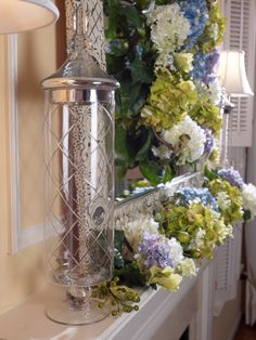Look for H199150 Etched Clear Glass Apothecary w/ Silver Lid by Valerie w/ Hydrangea Wreath & Garland by Valerie  qvc.com