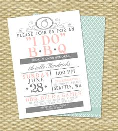 I DO BBQ Bridal Shower Invitation Couples Shower BBQ Engagement Party BabyQ Baby Shower Vintage Typography Style, Any Event, Any Color by SunshinePrintables on Etsy https://www.etsy.com/listing/193770621/i-do-bbq-bridal-shower-invitation
