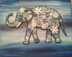 Button Art Elephant on Recycled Wood with Acrylic Paint Background #buttons #art #elephant
