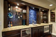 32 Incredible Basement Bar Design That'll Make Feel Good - Possible Decor Wet Bar Basement, Basement Bar Plans, Small Basement Remodel, Basement Bar Designs, Basement Office, Home Bar Designs, Basement Renovations, Basement Bathroom, Basement Ideas