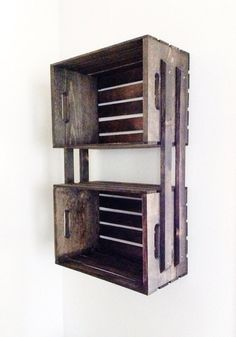 SALE Brown Wooden Crate Wall Hanging Shelving Unit by CLDecor, $59.00