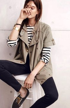 short sleeve jacket, long sleeve striped tee, jeans & sneakers #style #fashion