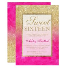 Gold glitter pink watercolor elegant chic Sweet 16 Card - invitations personalize custom special event invitation idea style party card cards