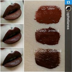 #Repost @ophelianea with @repostapp. ・・・ ✖THE BROWNS✖ Here you can see a comparison of all my brown liquid lipsticks. I think they are alle quite different but maybe for you these are some dupes. I love them all but I think Untamed by LASplash is my current favourite because of the easy application and its permanency. After that comes Salem by Lime Crime as my number two because it is more challenging to apply but it lasts also very good and my number three is Spellbound by LASplash because ...
