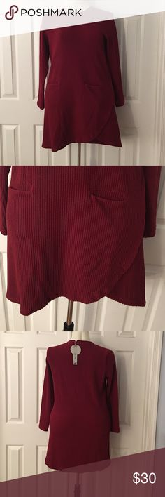 JUST LISTED-plus size irregular hem sweater dress Beautiful irregular hem sweater dress with two front pockets- round collar - long sleeves and knee length. Made from acrylic - would go great with leggings. Very comfortable and cozy Tops