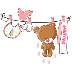 Adesivi per Bambini: Orsacchiotto clothesline rosa e nome