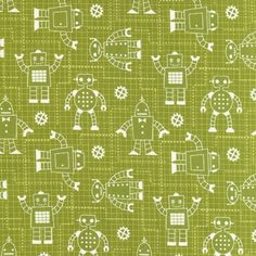 Caleb Gray, Robot Factory, Blueprint Grid Green Organic Cotton Fabric - Remnant…
