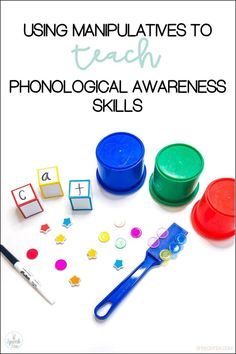5 fun manipulatives to use while teaching phonological and phonemic awareness skills. Make learning FUN with this multi-sensory approach! Preschool Speech Therapy, Phonics Activities, Reading Activities, Foreign Language Teaching, Speech And Language, Language Arts, Teaching Phonics, Teaching Resources, Kindergarten Literacy