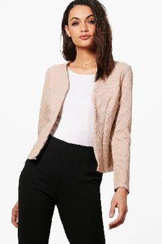 #boohoo Jacquard Crop Blazer - stone DZZ52252 #Kate Jacquard Crop Blazer - stone
