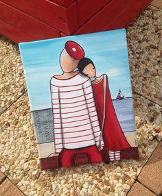 """""""Les amoureux du bord de mer"""" peinture acrylique Simple Canvas Paintings, Sea Art, Street Art Graffiti, Tile Art, Prismacolor, Female Art, Painted Rocks, Watercolor Art, Modern Art"""