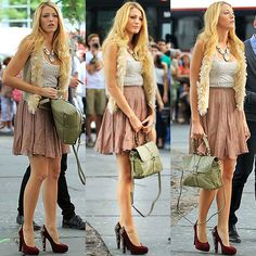 "Blake Lively Films ""Gossip Girl"" in Brian Atwood Power Studs Suede Platform Pumps"