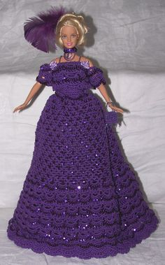 Crocheted Barbie Fashion Doll Purple Sequined by SunsetPainter