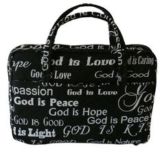 Bible Cover God Is by HeavenlyMessage on Etsy Bible Covers, You Are Special, Black Fabric, Bookmarks, Great Gifts, Reusable Tote Bags, God, Pocket, Books