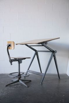 Drafting table and chair by Friso Kramer for Ahrend / De Cirkel.