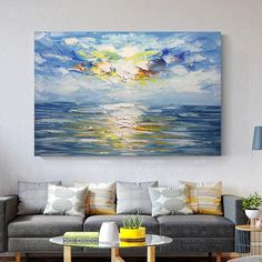 Original Abstract Acrylic Painting On Canvas Sunrise Seascape Palette knife Extra Large textured bul