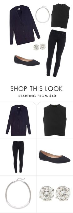 """""""Black high neck tank and blue cardigan"""" by lolocan on Polyvore featuring Isabel Marant, Topshop, Paige Denim, Lane Bryant and Kenneth Jay Lane"""