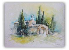 """Aquarell - Wandbild von Frankreich """"Kirche in der Provence"""" - ein Designerstück von Bildermalerei-Holzarbeiten bei DaWanda"""