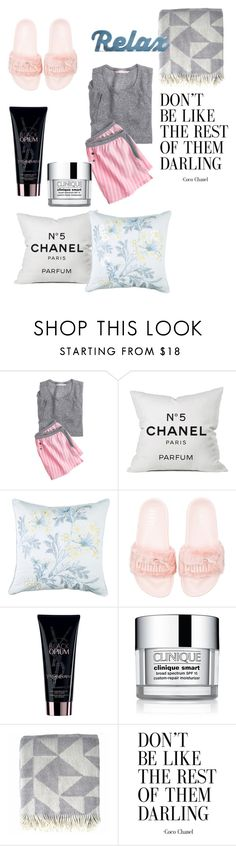 """Stay In Bed Day : Style Report"" by andreamartin24601 ❤ liked on Polyvore featuring Victoria's Secret, Chanel, Seaspray, Puma, Yves Saint Laurent and Clinique"