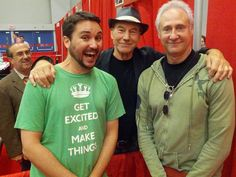 Wil Wheaton (Wesley), Sir Patrick Stewart (Picard), and Brent Spiner (Data) at 2012 Montreal Comicon