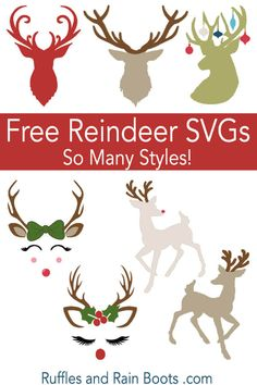 Free Christmas SVGs She has so many free SVGs and other types of cut files but these reindeer are super cute. I love her ideas for Christmas crafts and gifts with them! Wine Bottle Crafts, Jar Crafts, Noel Christmas, Christmas Crafts, Christmas T Shirt, Christmas Stencils, Christmas Vinyl, Xmas, Christmas Things