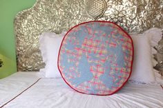 """Sky Blue hand embroidered plaid Otomi Pouf Scarlett """"O"""" collection – Casa Otomi Mexico, Tenango, wedding, textile, mexican suzani, embroidery, hand embroidered, otomi, fiber art, mexican, handmade,  casa, decor, interior, frida, kahlo, folk,  folk art, house, home, puebla, las flores, cushion, serape, preppy, gingham, polka dots, pink, lime, green, lily pulitizer, pouf, elle decor, boho, style, bestey johnson, lily pultizer, interior, stripes, southern living, southern style,"""