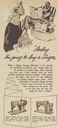 Detail from Singer Sewing machine ad, 1957