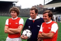 Clive Allen (left), the man who didn't stay, pictured with Arsenal manager Terry Neill and fellow new signing John Hollins Arsenal Fc, Clive Allen, John Hollins, Great Team, Old Boys, The Man, Polo Ralph Lauren, Arsenal F.c.