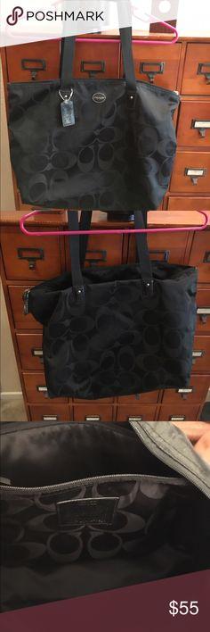 "Coach Tote Bag Coach Tote Bag - Black 19"" L x 11 1/2 W - Spacious with an inside zipper pocket. Coach Bags Totes"