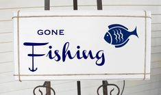 Gone Fishing Sign with anchor and Fish White by Frameyourstory, $45.00