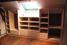 Attic Master Suite, Wardrobe Room, Attic Rooms, Diy Storage, Washing Clothes, Home Improvement, Bookcase, Sweet Home, New Homes