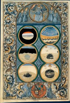 Illuminated Creation of the World from Biblia latina, Venise, printed by Nicolas Jenson, 1476.