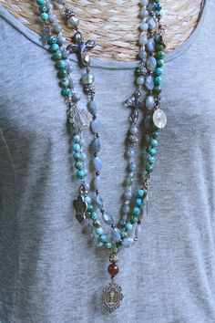 layering with inspirational labradorite and turquoise...  rustic