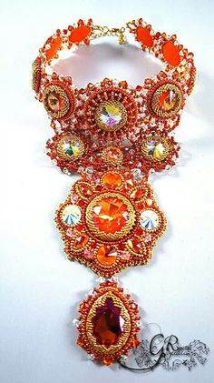Stunning choker with a lot of Swarovski crystals and gold plated Japanese seed beads. The length Bead Embroidered Bracelet, Bead Embroidery Jewelry, Soutache Jewelry, Beaded Embroidery, Beaded Jewelry, Beaded Necklace, Fashion Jewelry Necklaces, Beading Tutorials, Bead Art
