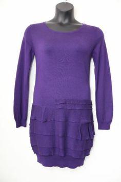 BCBG MAX AZRIA Silk Plum Berry Ruffle Knit Sweater Dress, Size M