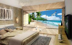 Extension d'espace - Papier peint photo paysage trompe l'œil effet 3D - Terrasse en bois et plage privée